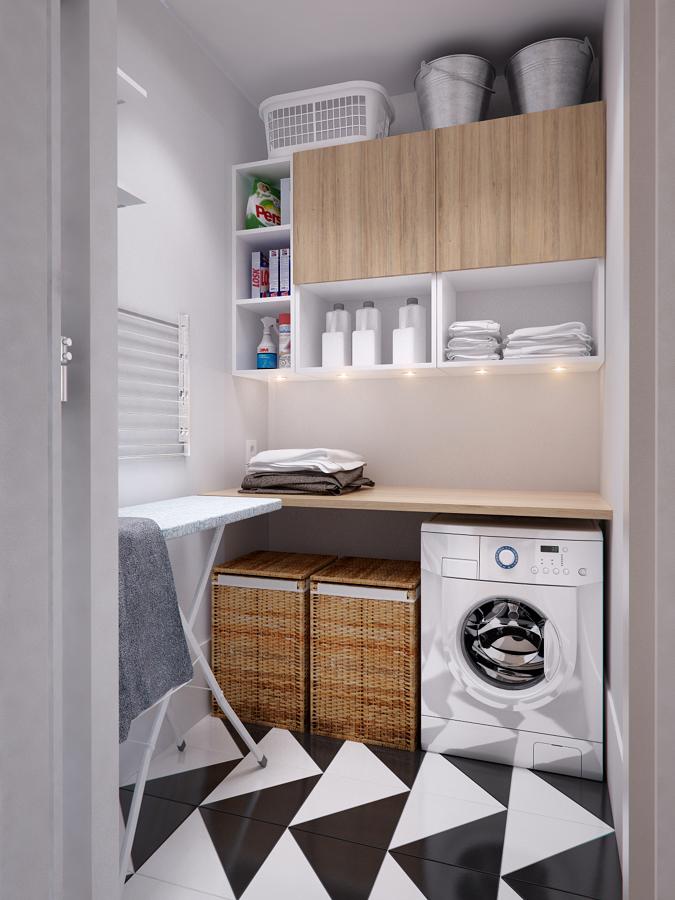 Cuarto de lavado con cestos, lavadora y productos limpieza