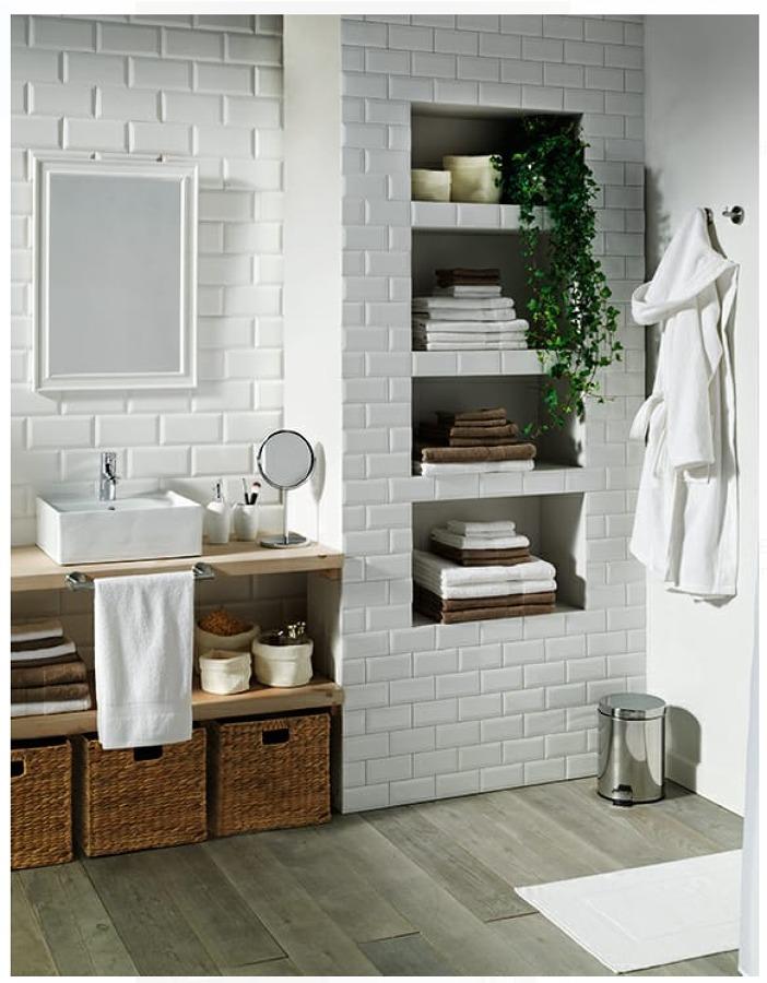 Decoración baño estilo ladrillo