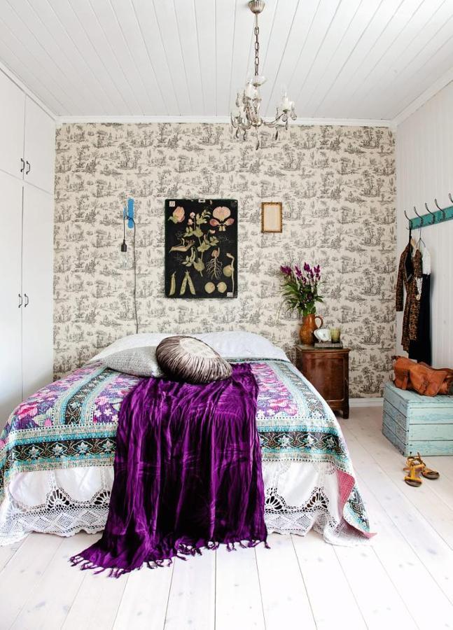 dormitorio vintage y étnico