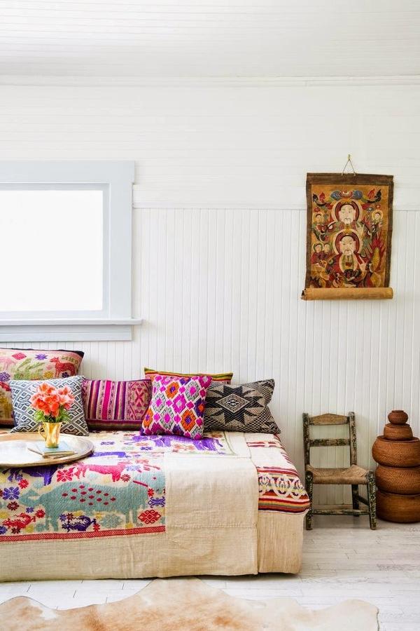 dormitorio étnico y rústico