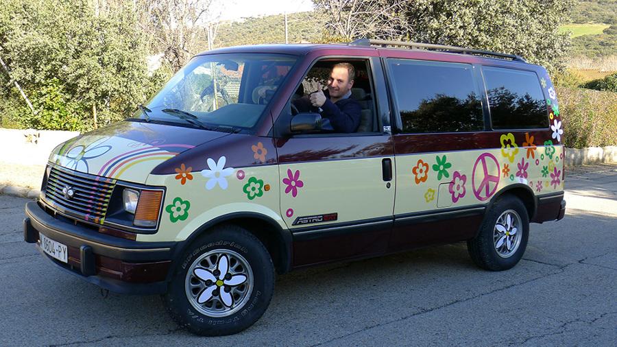 decoración furgoneta hippy