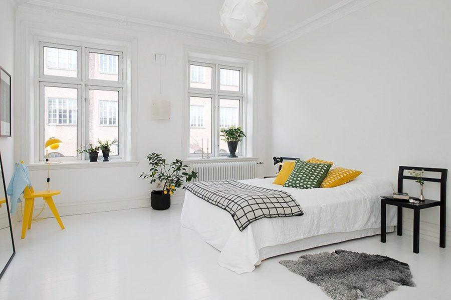 Foto Dormitorio Blanco y Amarillo de Decoracin Nrdica de Miriam
