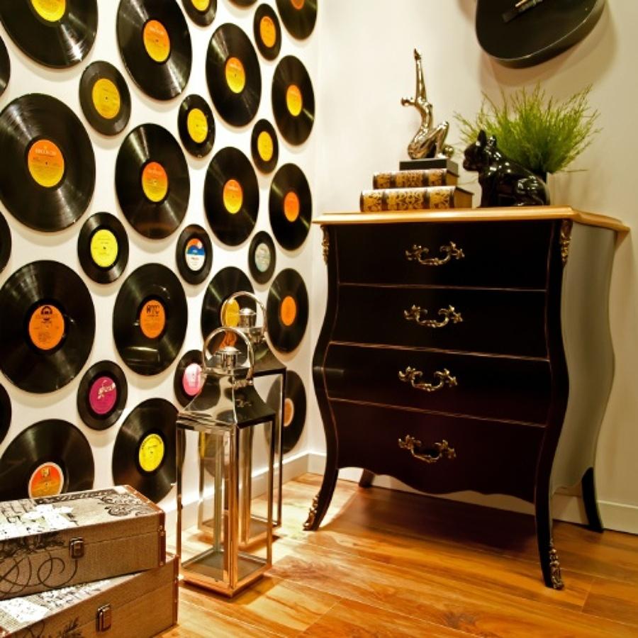 C mo decorar las paredes con discos vinilos ideas - Forrar paredes con vinilo ...