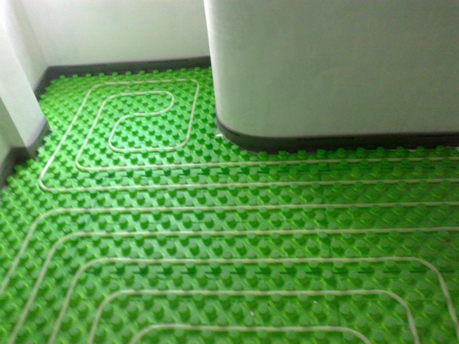 Detalle de la instalación de suelo radiante
