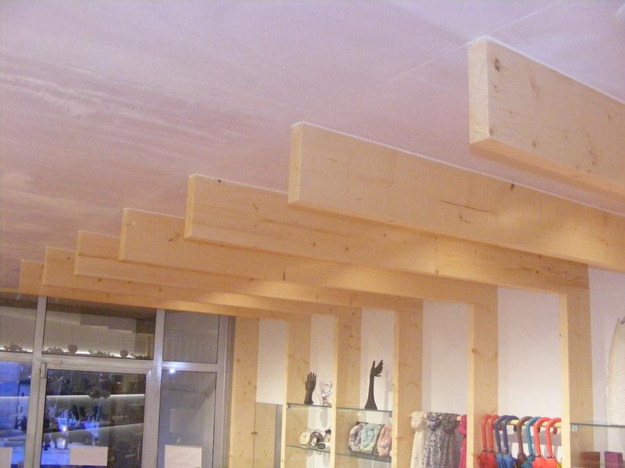 Detalle de las vigas de madera