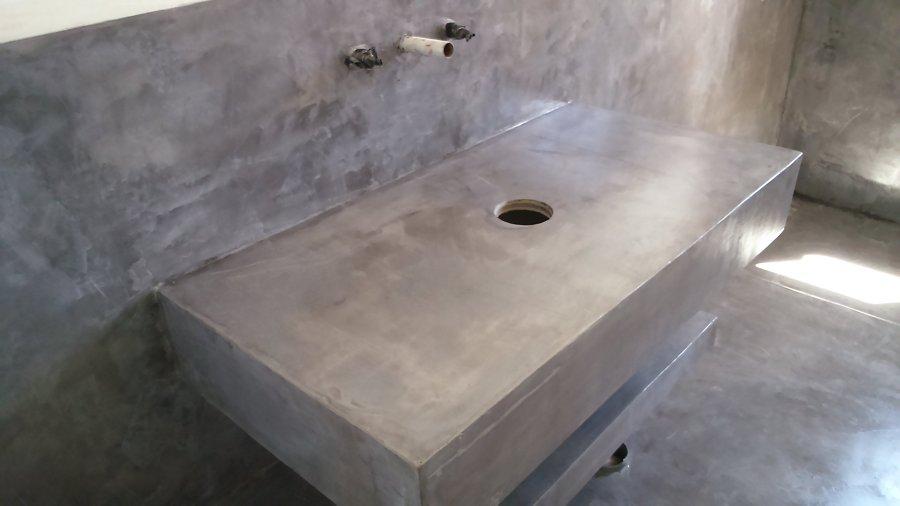 Foto detalle de muebles revestido con microcemento de for Muebles microcemento