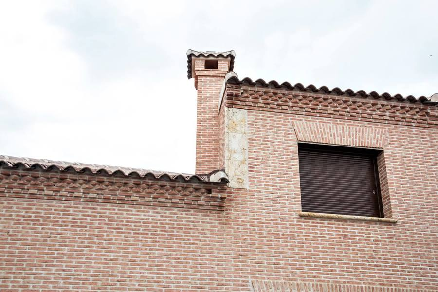 Detalle fachada y chimenea