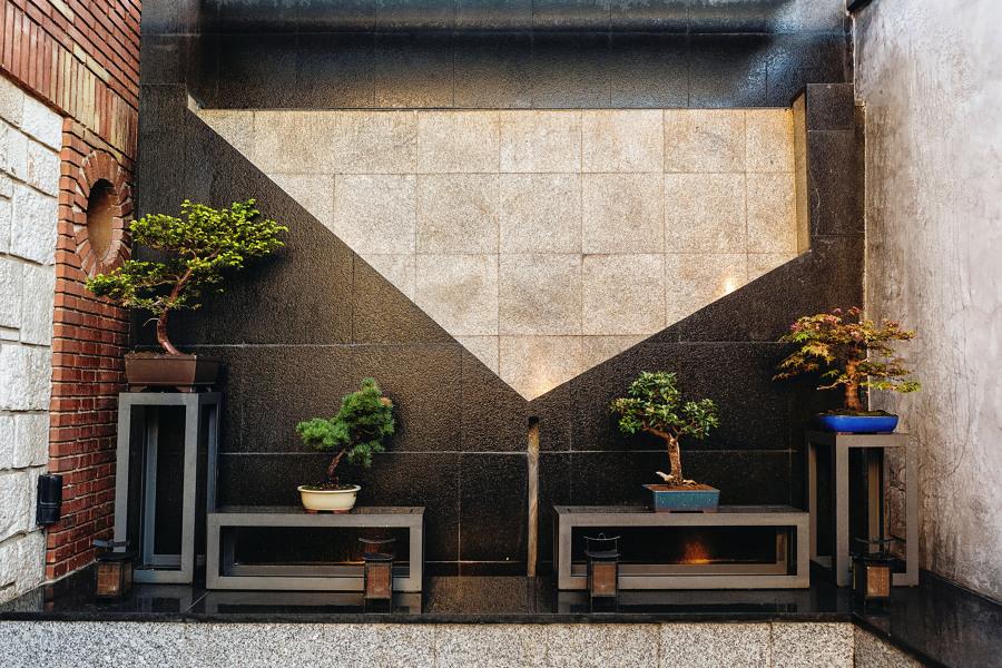 Detalle: Fuente mural Bonsáis en acero y piedra