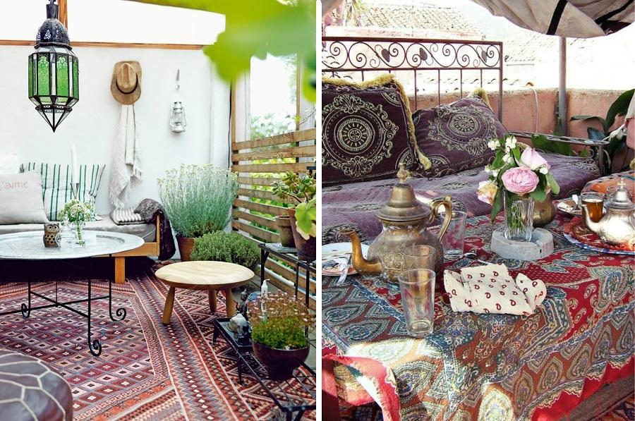 terraza con flores boho chic