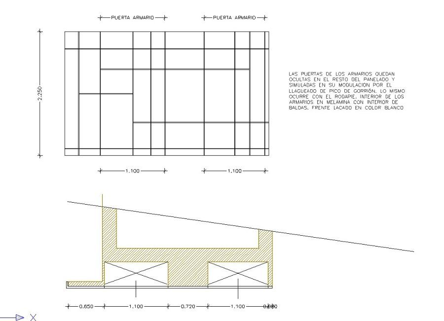 diseño de alzado de los armarios de pasillo