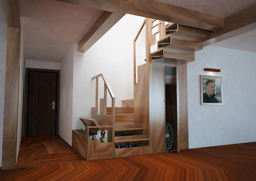 Diseño de escalera multifuncional