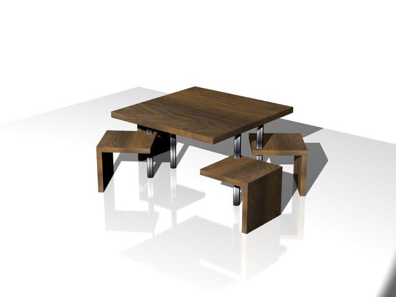 Diseño de mesa con 4 sillas integradas