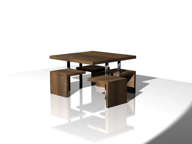 diseo de mesa con sillas integradas