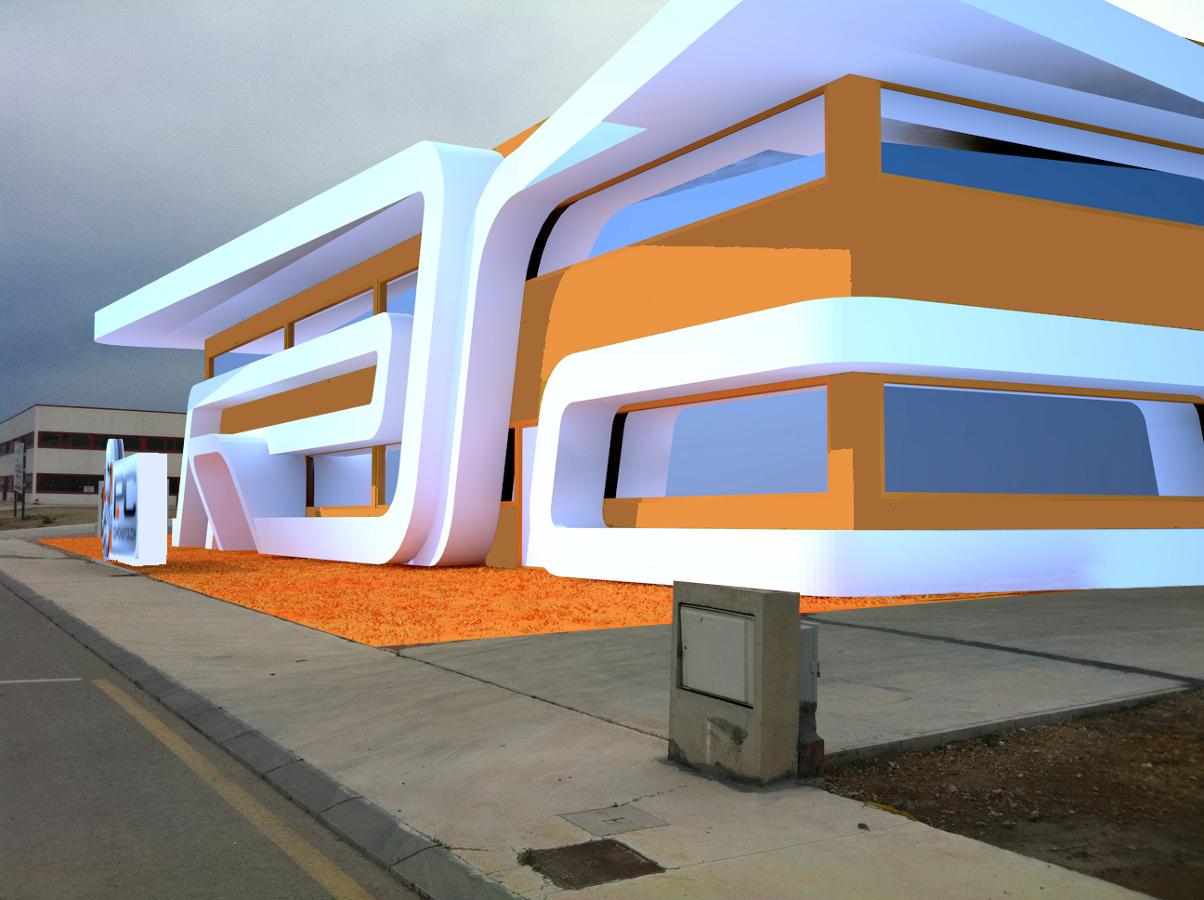 Dise o arquitectura exterior fachada para nave for Empresas de arquitectura