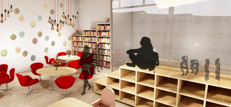 Diseño interior de zona de estudio