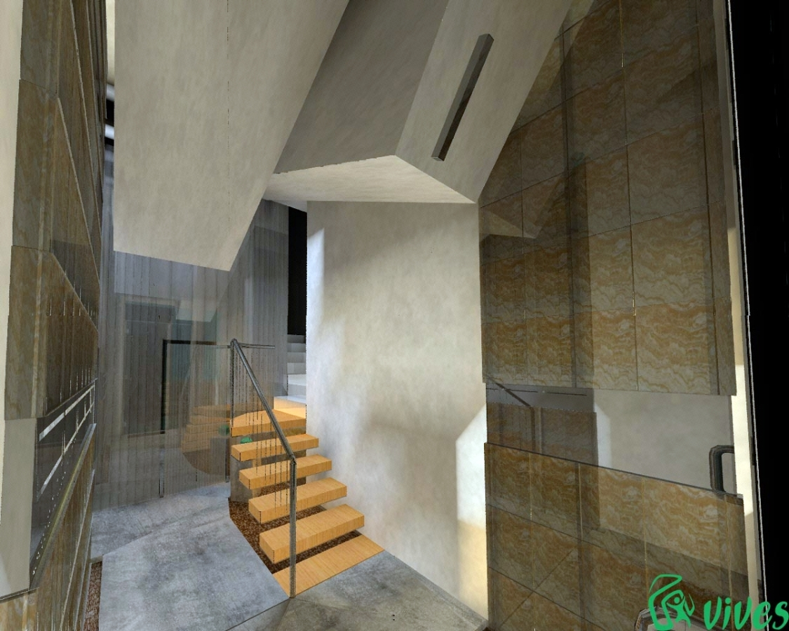 Diseño y reforma de portal para colocación de ascensor en Zaragoza