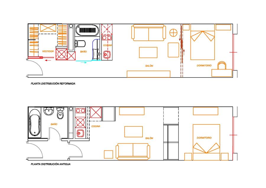 Reforma de peque o apartamento ideas reformas viviendas - Distribucion bano alargado ...