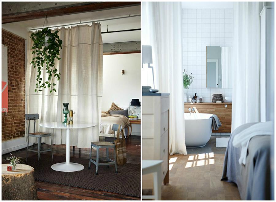 C mo dividir espacios y crear diferentes ambientes en casa - Cortinas para separar ambientes ...