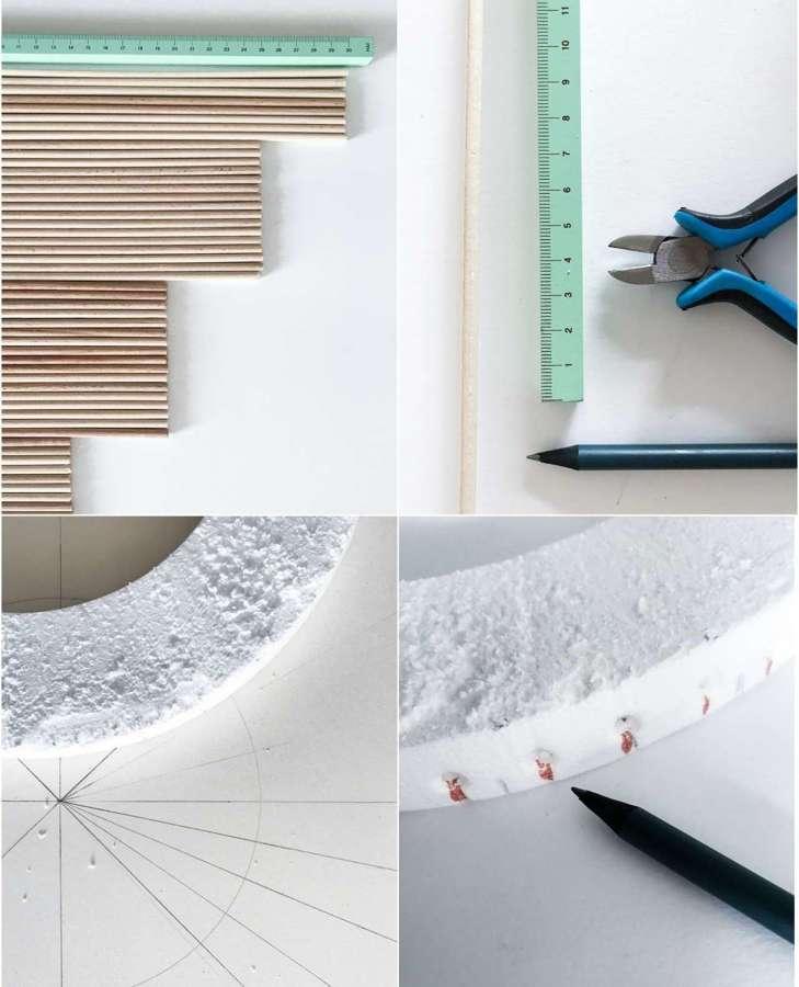 DIY Espejo sol: materiales