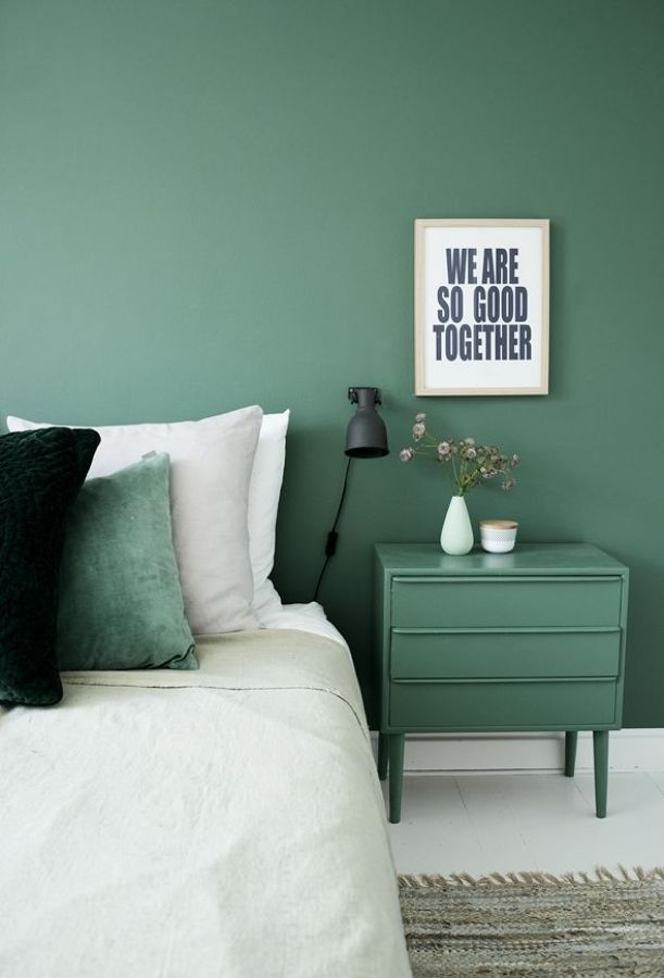Dormitorio pared verde