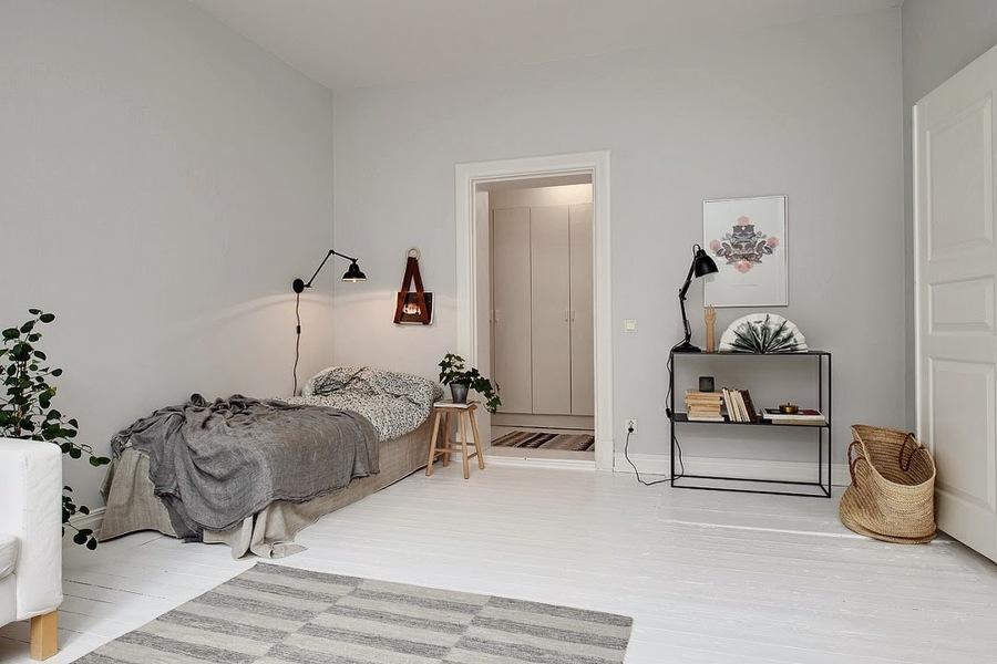 dormitorio individual en tonos grises