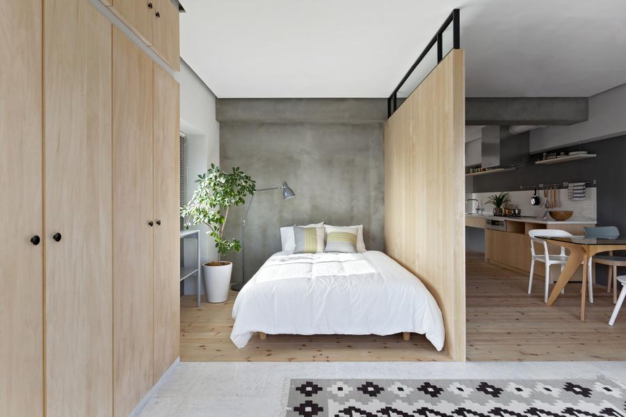dormitorio abierto estilo japonés