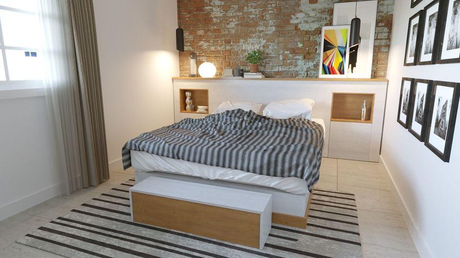 Dormitorio con cabecero de obra y ladrillo caravista