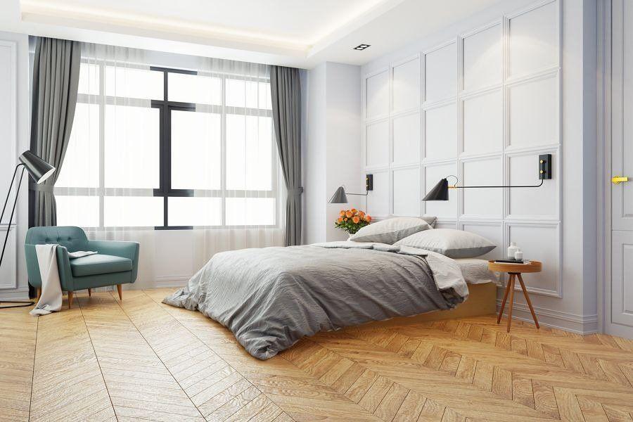Dormitorio con doble cortina