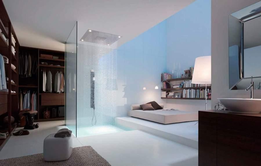dormitorio con ducha moderna