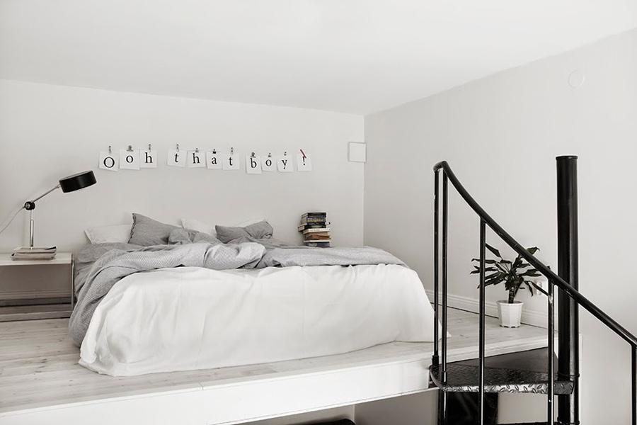 dormitorio con mobiliario bajo