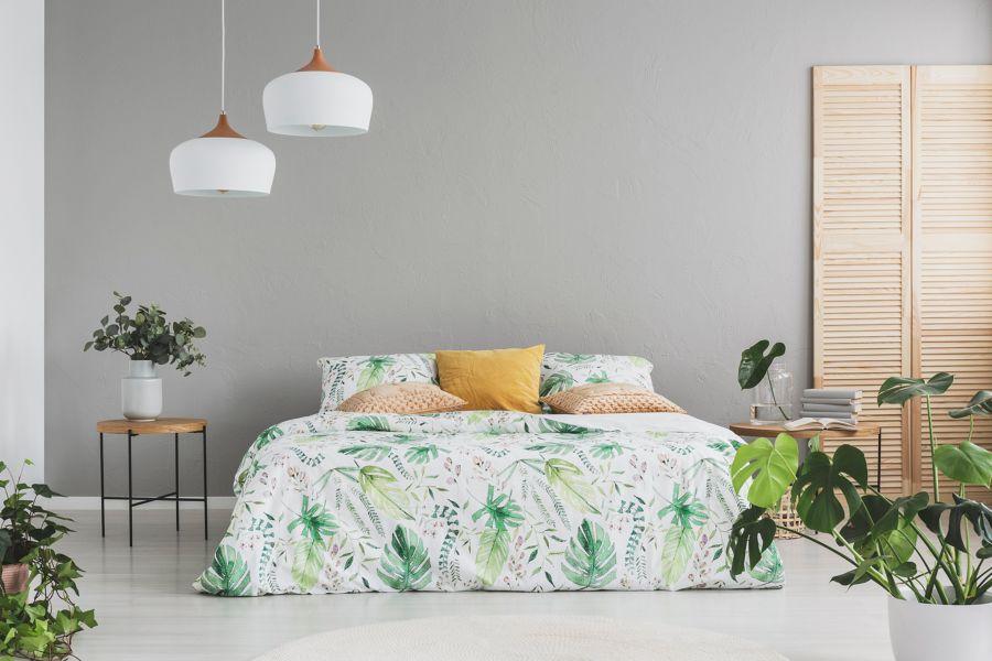 Dormitorio con textiles tropilcales