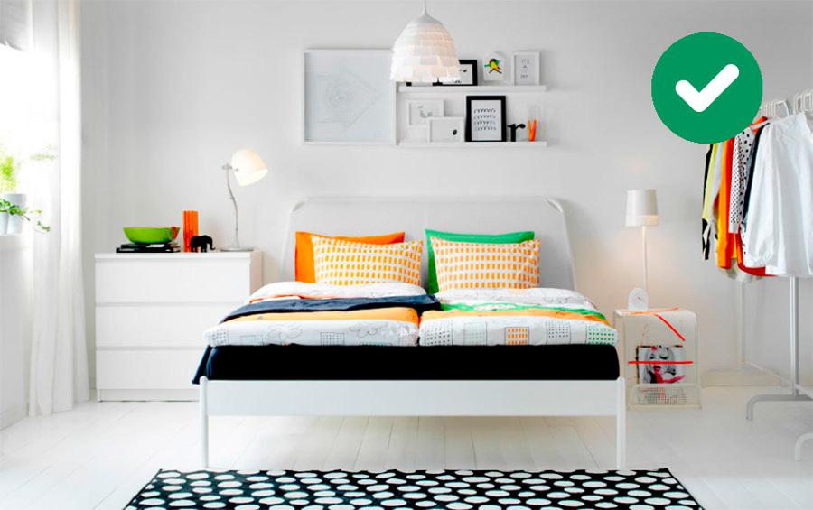 Dormitorio con tonos alegres