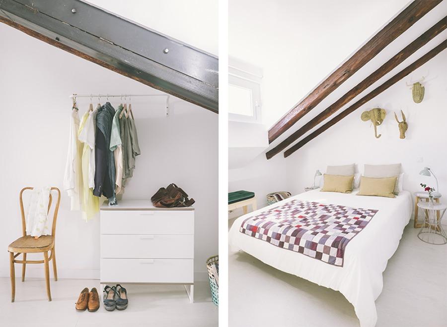 dormitorio con vigas