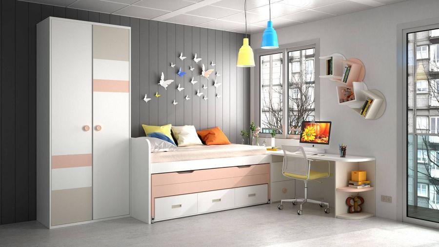 Dormitorio con zona de estudio cerca de la ventana