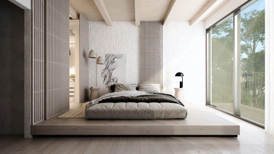 Dormitorio de estilo asiático