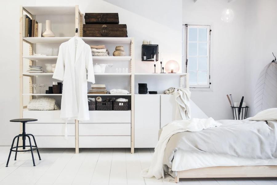 Dormitorio de estilo nórdico blanco