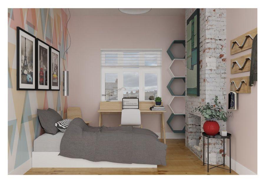 Dormitorio doble de estilo funcional