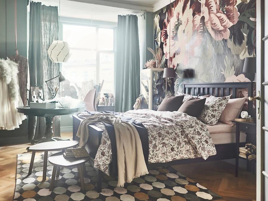 Dormitorio ecléctico cama IKEA