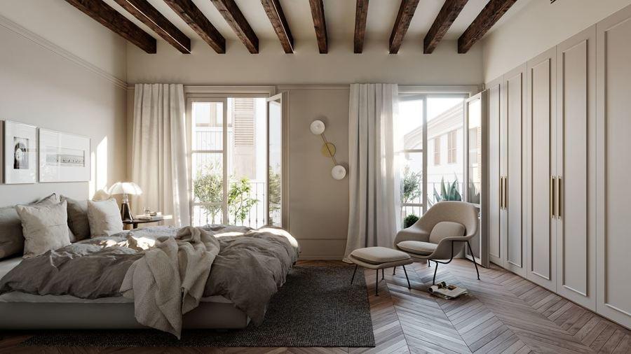 Dormitorio elegante y sobrio