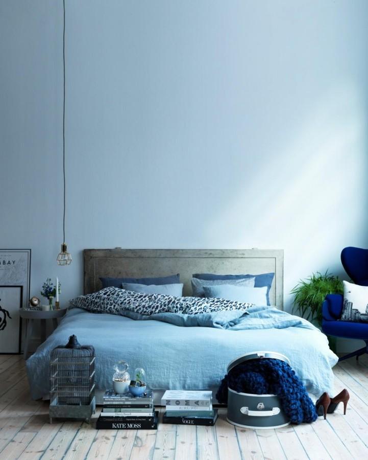 Dormitorio en color azul serenidad