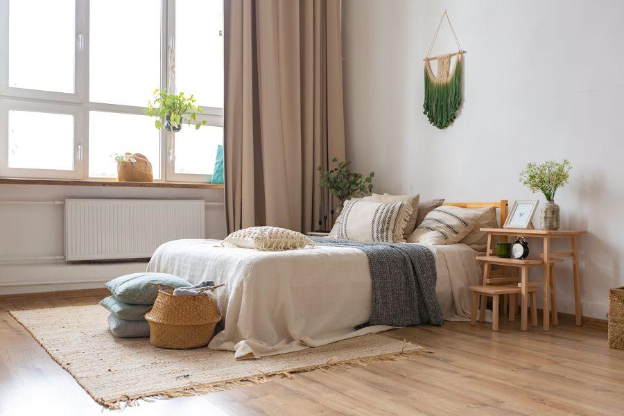 Dormitorio en mimbre