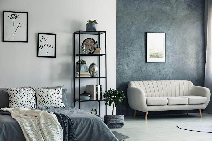Dormitorio en tonos azules y blanco