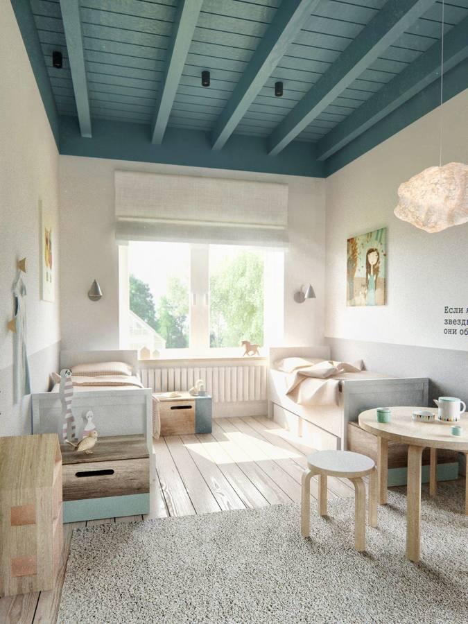 dormitorio infantil con techo de madera pintado
