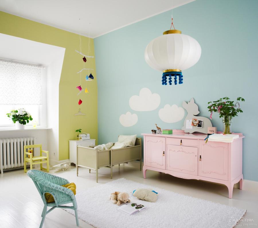 Dormitorio infantil en colores pastel