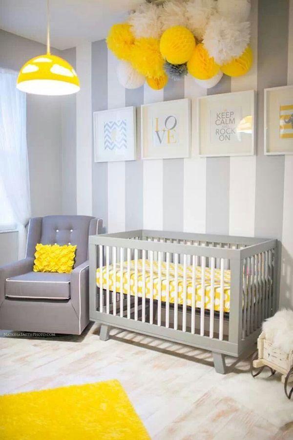 Dormitorio infantil en gris y amarillo
