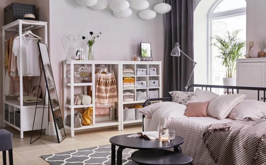 Dormitorio juvenil con organizadores de armarios