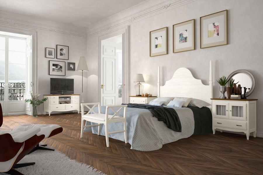 Foto dormitorio madera blanco con pie de cama de carmen for Muebles blancos dormitorio