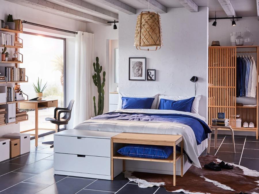 Dormitorio mediterráneo IKEA, cama de cajones