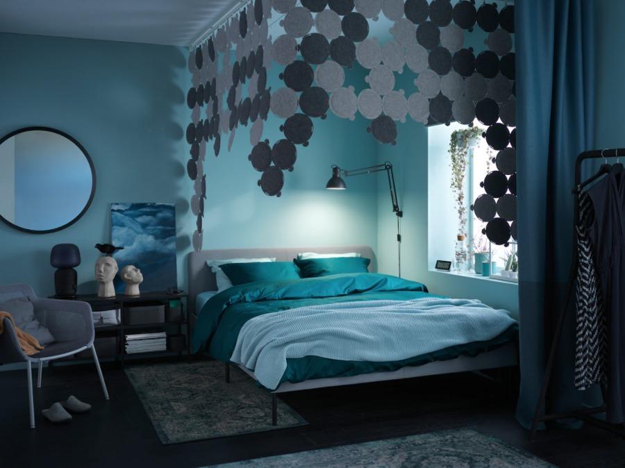 Dormitorio moderno con colchón de IKEA