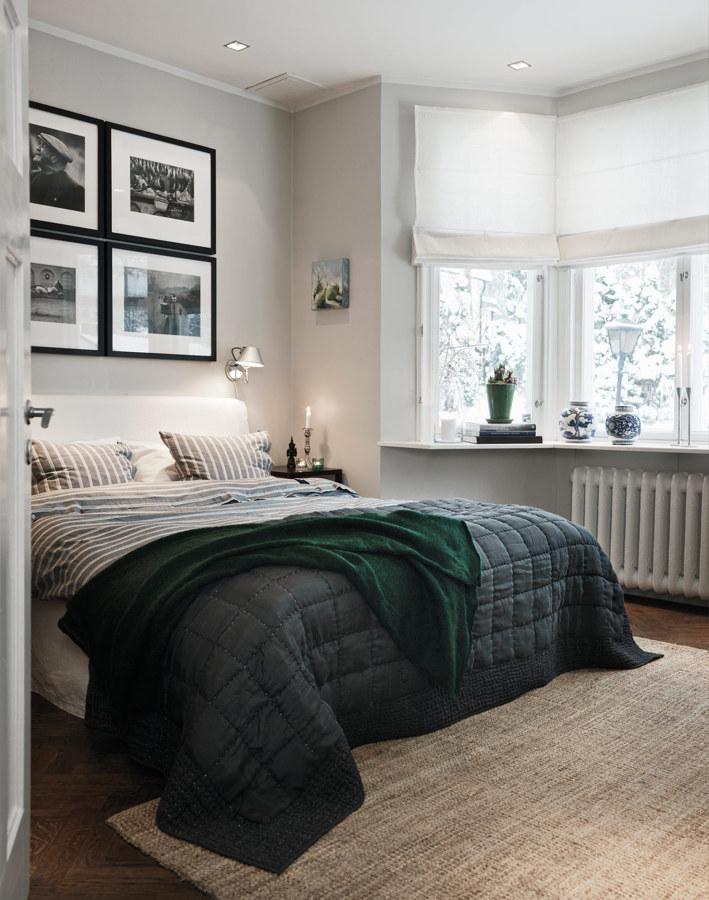 Dormitorio nórdico con estores